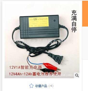 摩托车充电器 12V电瓶蓄电池用 电动车单只智能 力源充电器