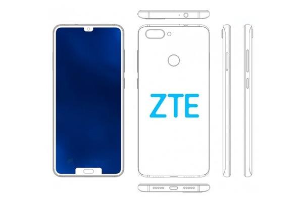 中兴注册上下双刘海设计手机新专利