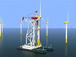 龙源振华承建的广东粤电海上风电首根桩完成基础施工