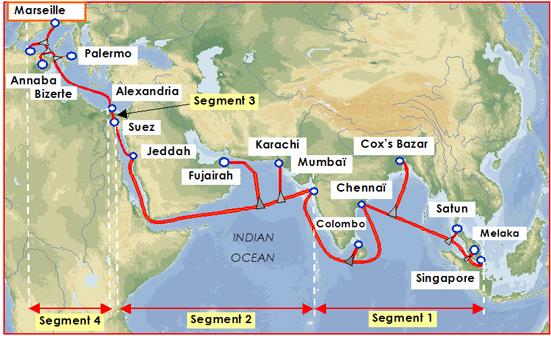 SeaMeWe-4海纜維修 孟加拉國互聯網連接減速